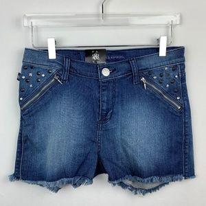 ROCK & REPUBLIC — Distressed Denim Studded Shorts
